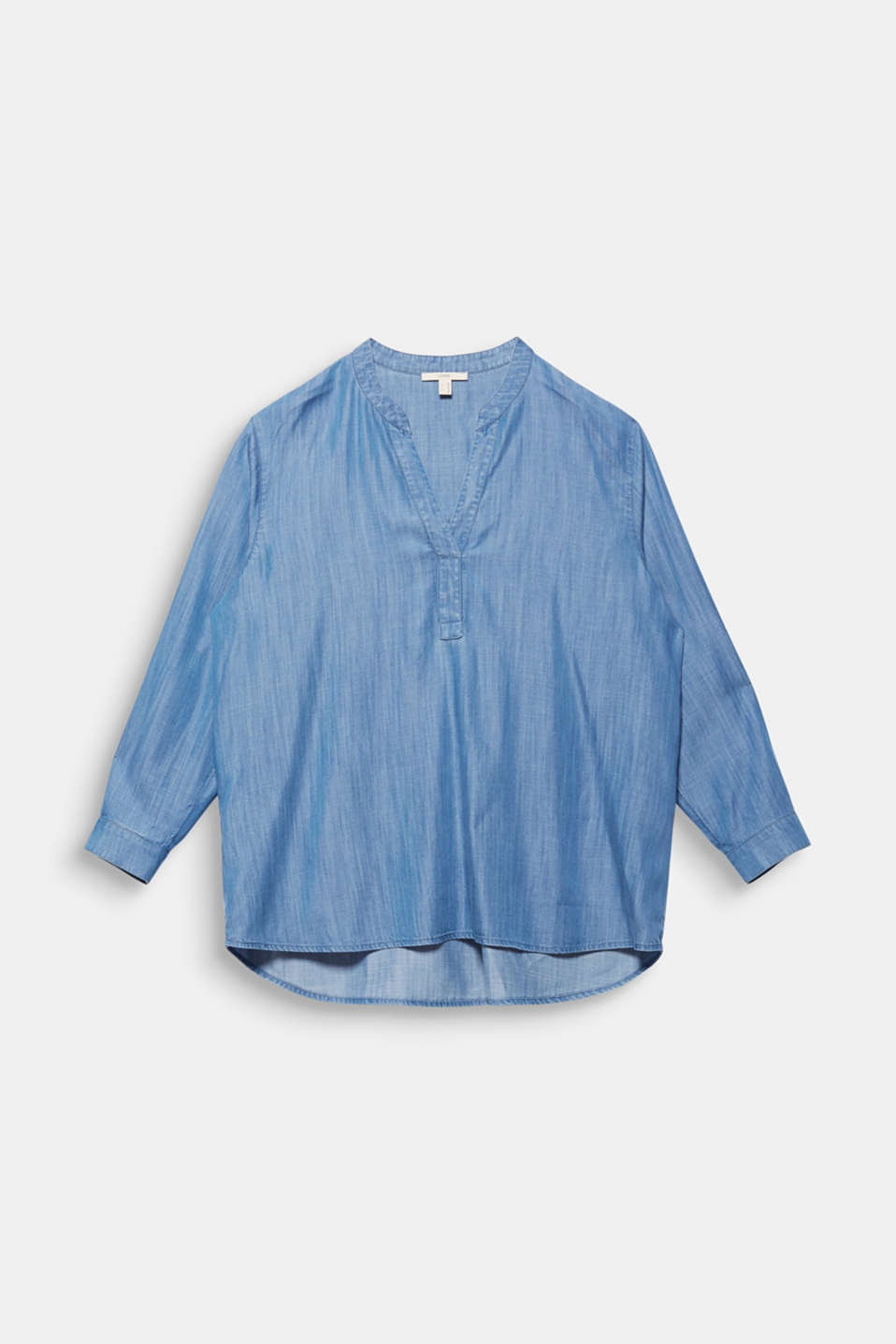 CURVY: Denim-look Henley blouse made of TENCEL™, BLUE LIGHT WASH, detail image number 6
