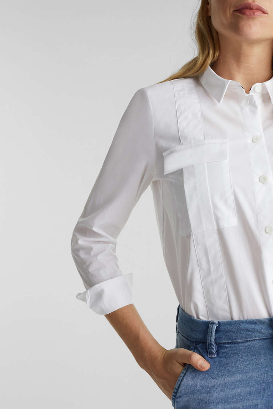 Utility blouse in 100% organic cotton, WHITE, detail image number 2
