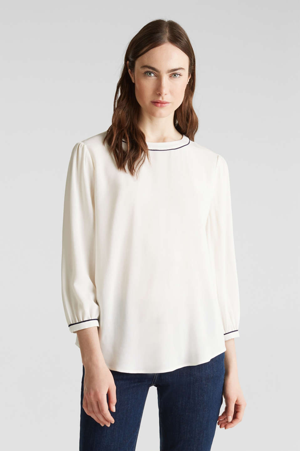 Blouse with 3/4-length sleeves, OFF WHITE, detail image number 0