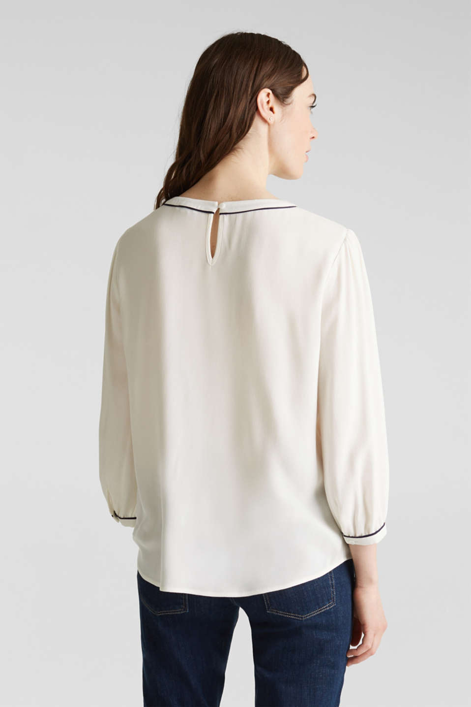 Blouse with 3/4-length sleeves, OFF WHITE, detail image number 3