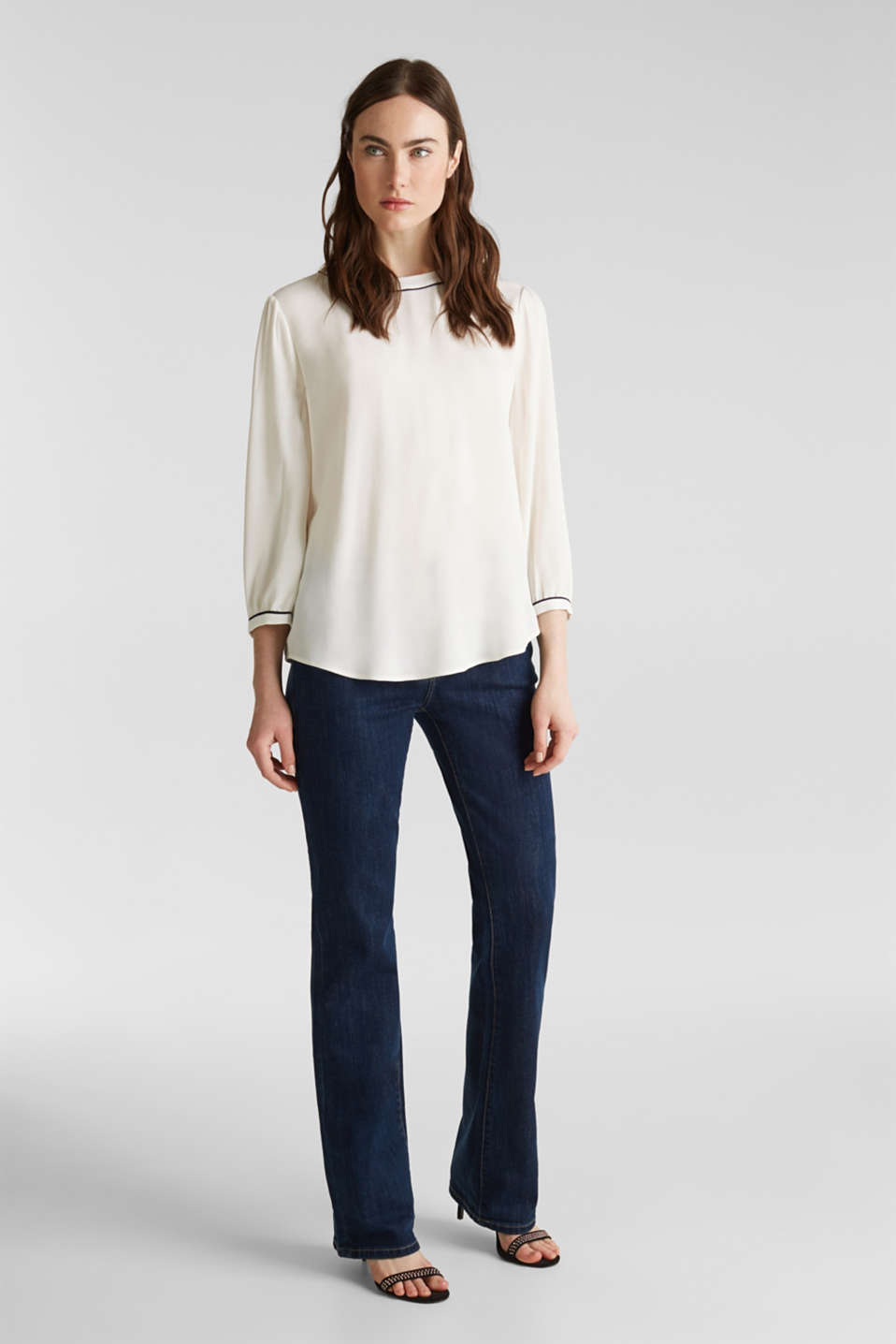 Blouse with 3/4-length sleeves, OFF WHITE, detail image number 1