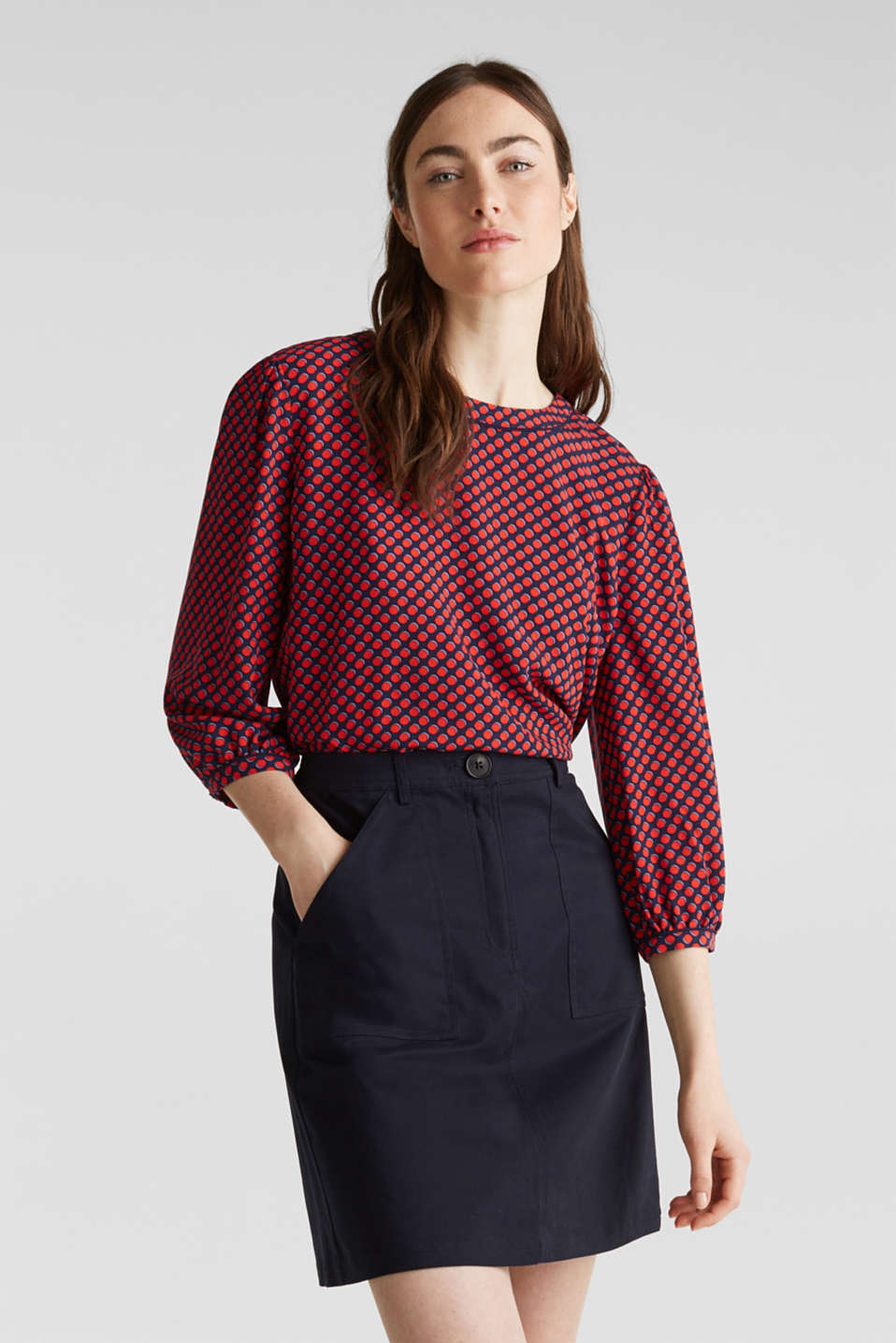 Blouse with 3/4-length sleeves, NAVY 4, detail image number 0