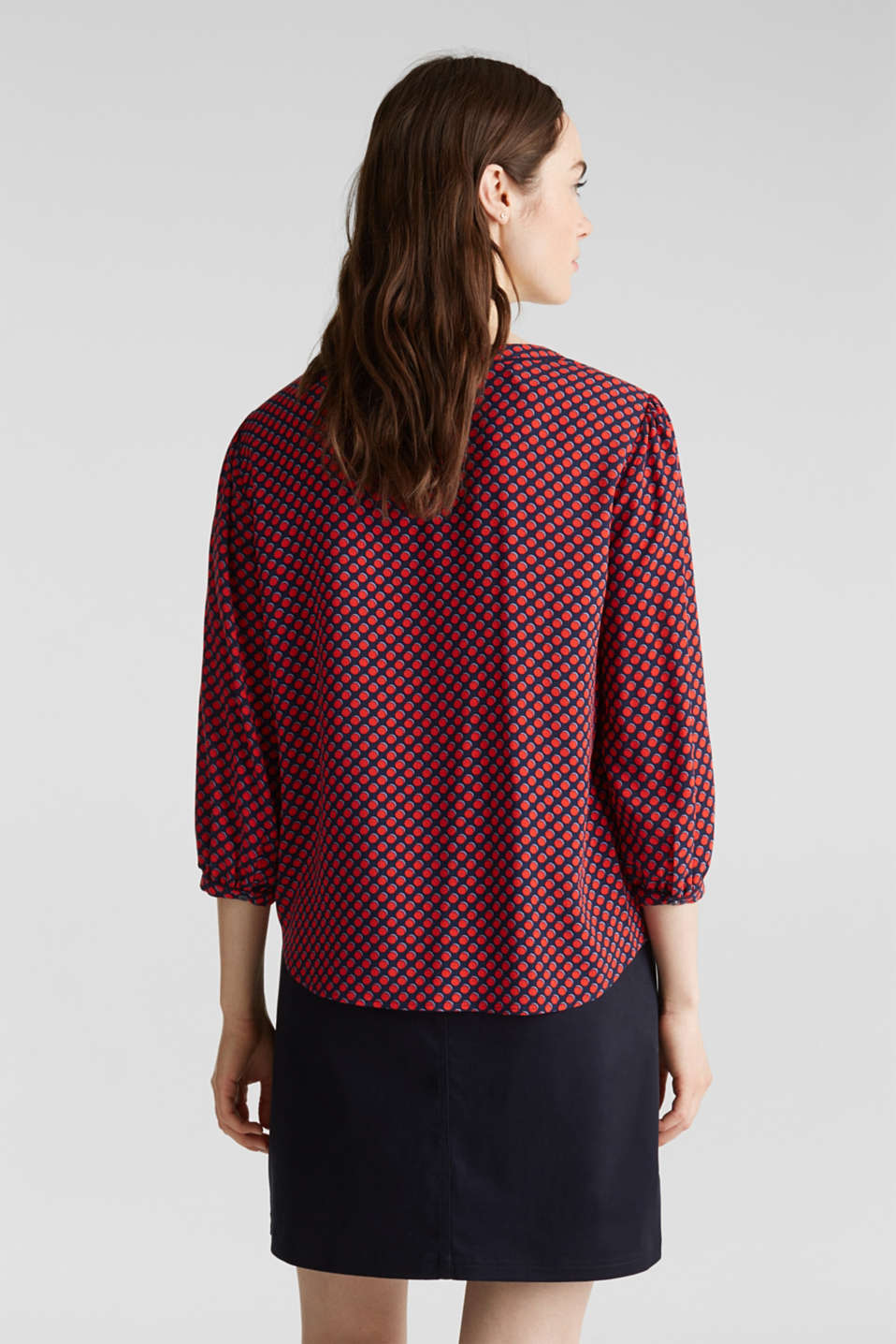 Blouse with 3/4-length sleeves, NAVY 4, detail image number 3