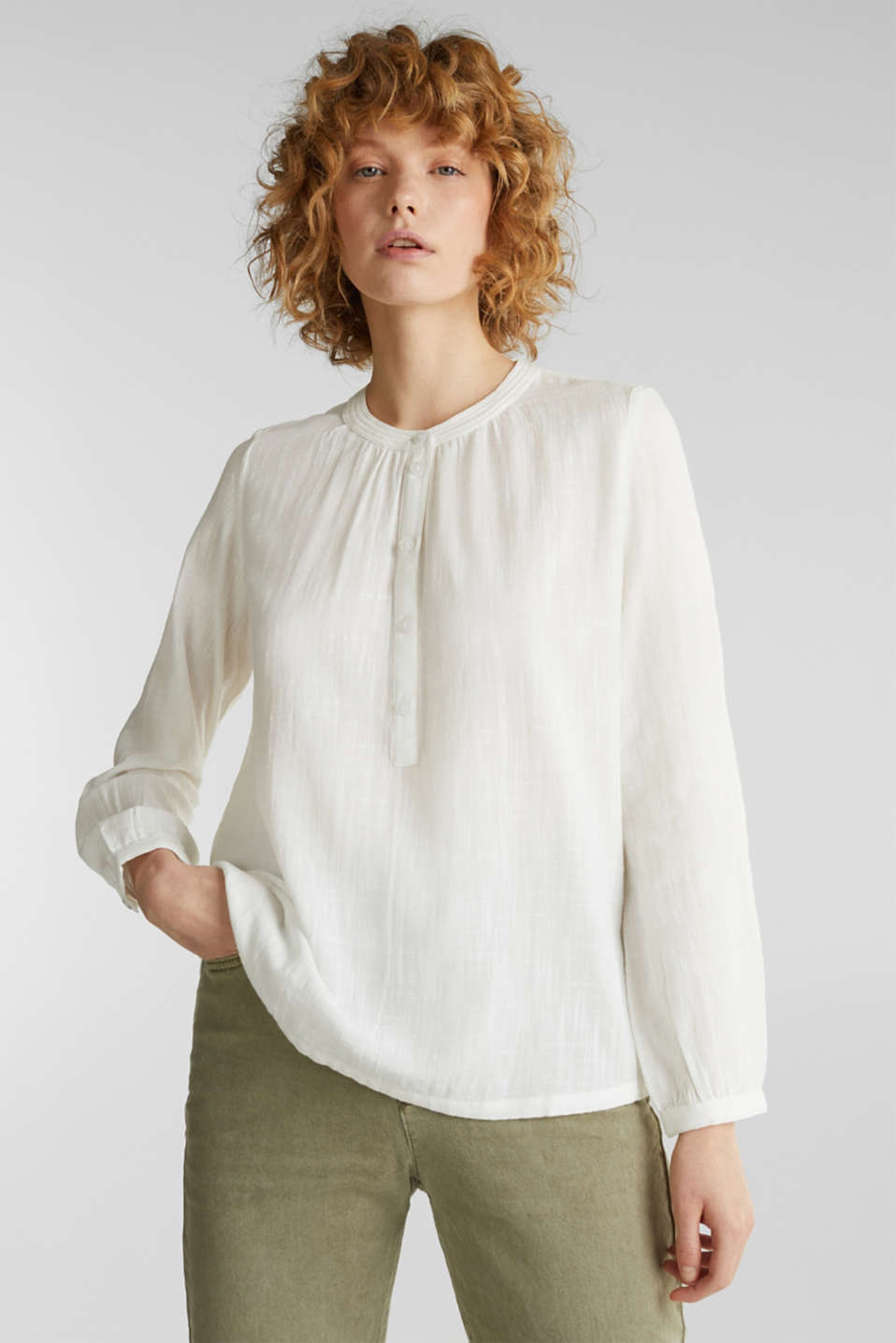 Esprit - Material mix blouse with a fine texture
