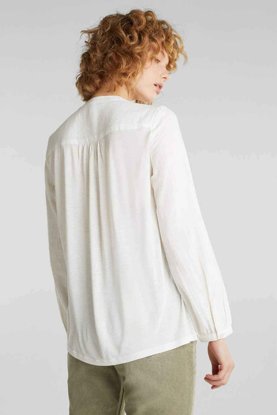 Material mix blouse with a fine texture, WHITE, detail image number 3