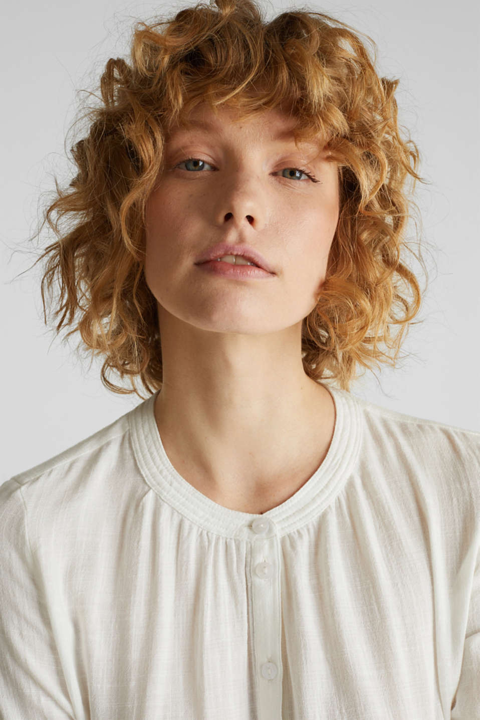 Material mix blouse with a fine texture, WHITE, detail image number 5