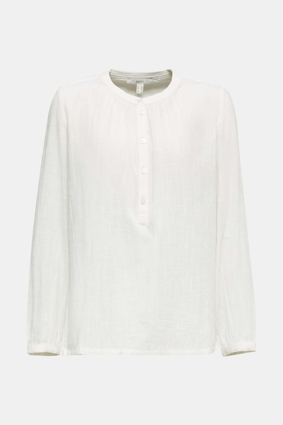 Material mix blouse with a fine texture, WHITE, detail image number 6