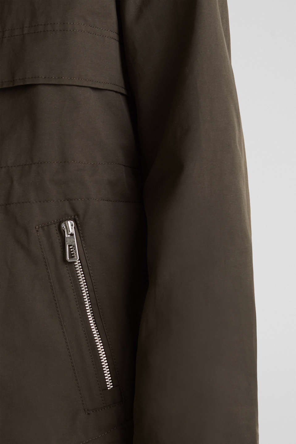 Short parka with a hood, DARK KHAKI, detail image number 6