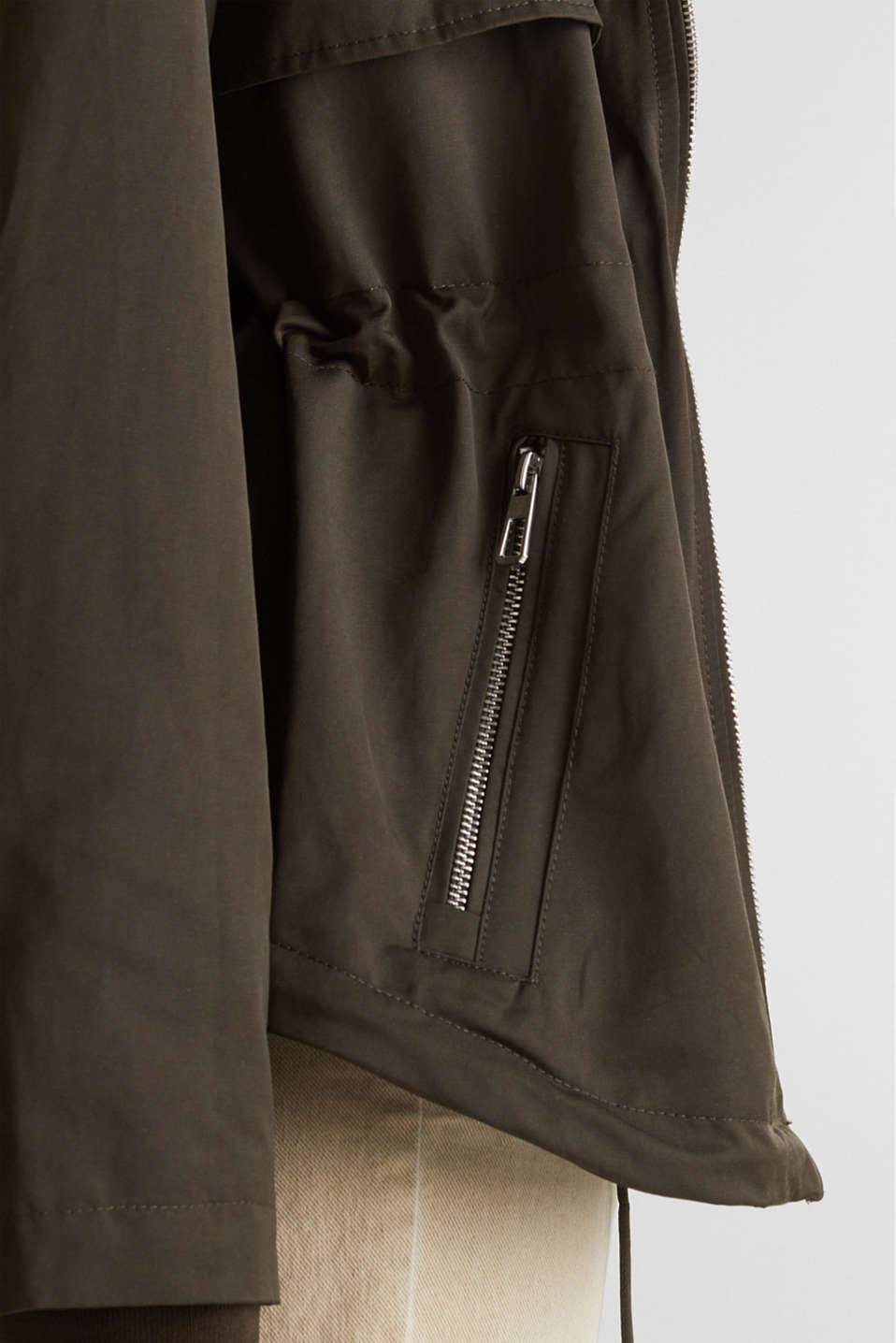 Short parka with a hood, DARK KHAKI, detail image number 5