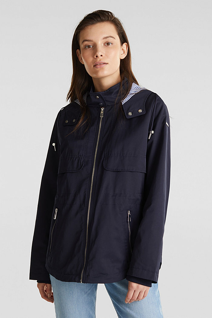 Short parka with a hood, NAVY, detail image number 0