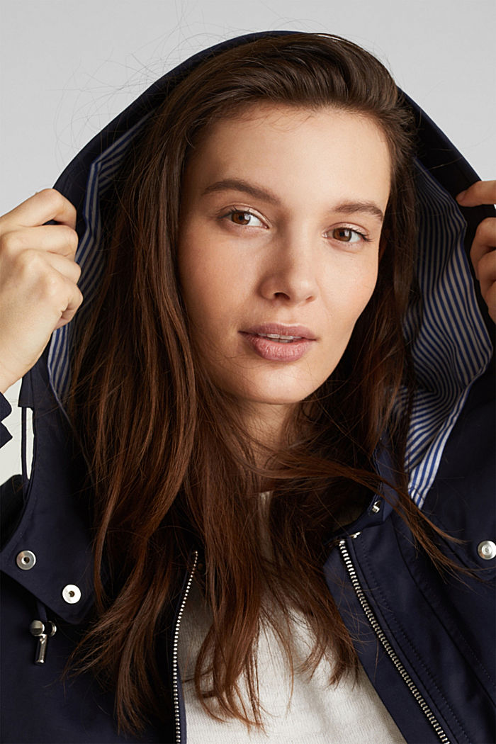 Short parka with a hood, NAVY, detail image number 6