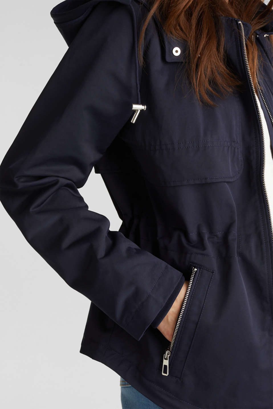 Short parka with a hood, NAVY, detail image number 2