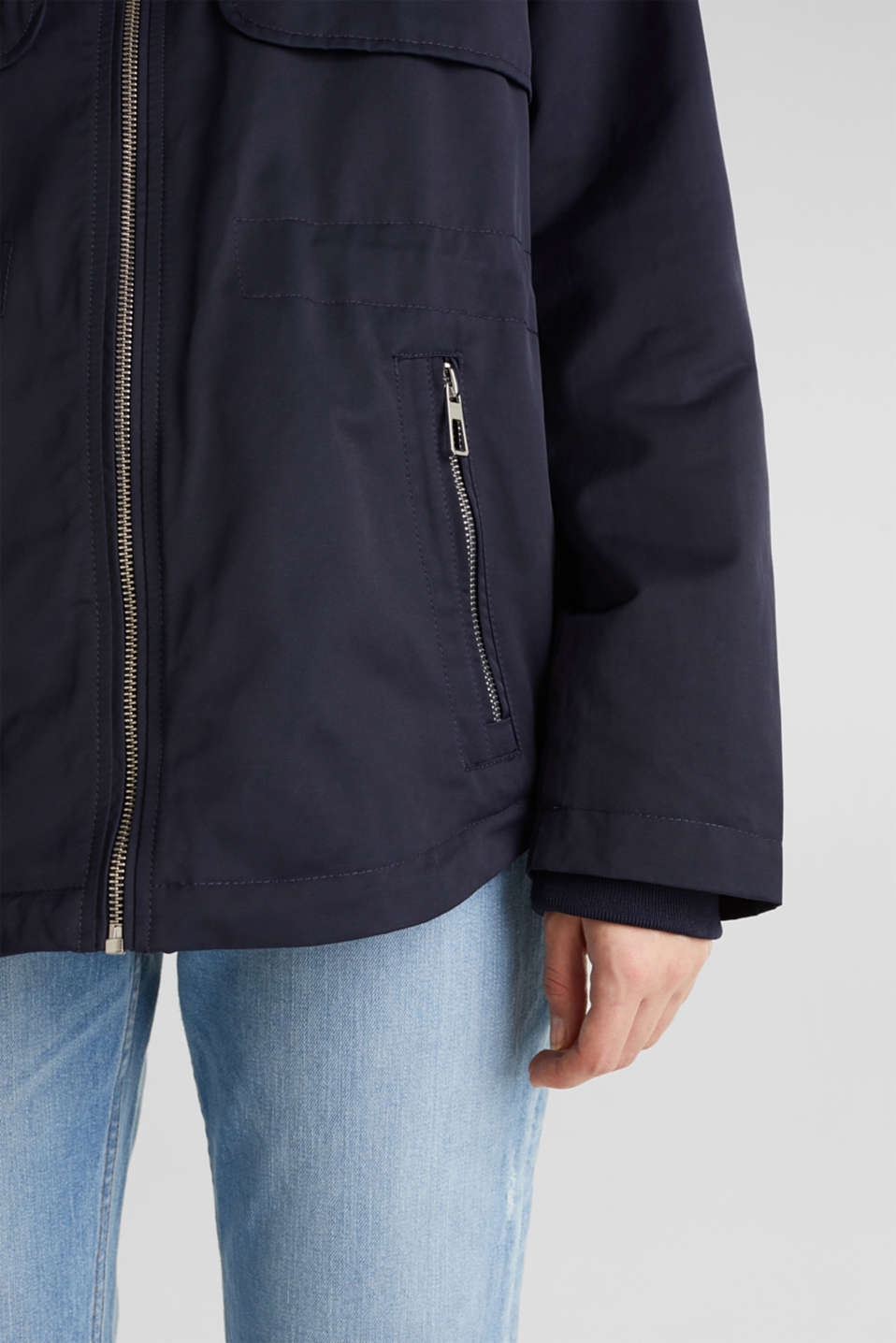 Short parka with a hood, NAVY, detail image number 5