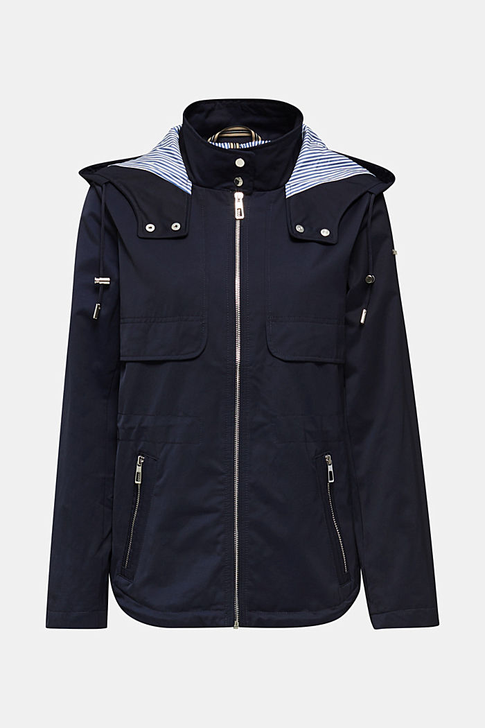 Short parka with a hood, NAVY, detail image number 8