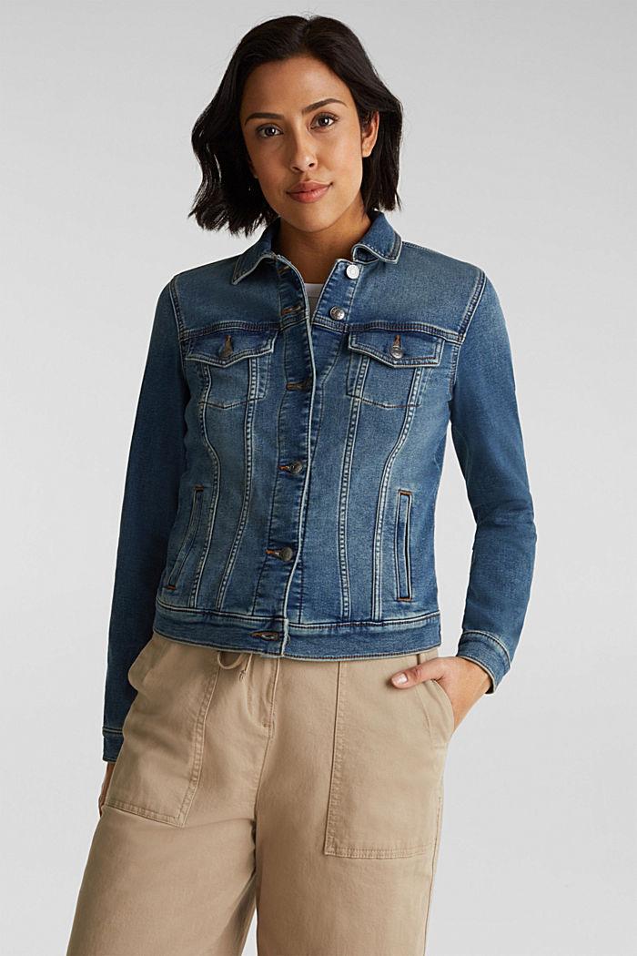 Stretch denim jacket, organic cotton, BLUE MEDIUM WASHED, detail image number 0