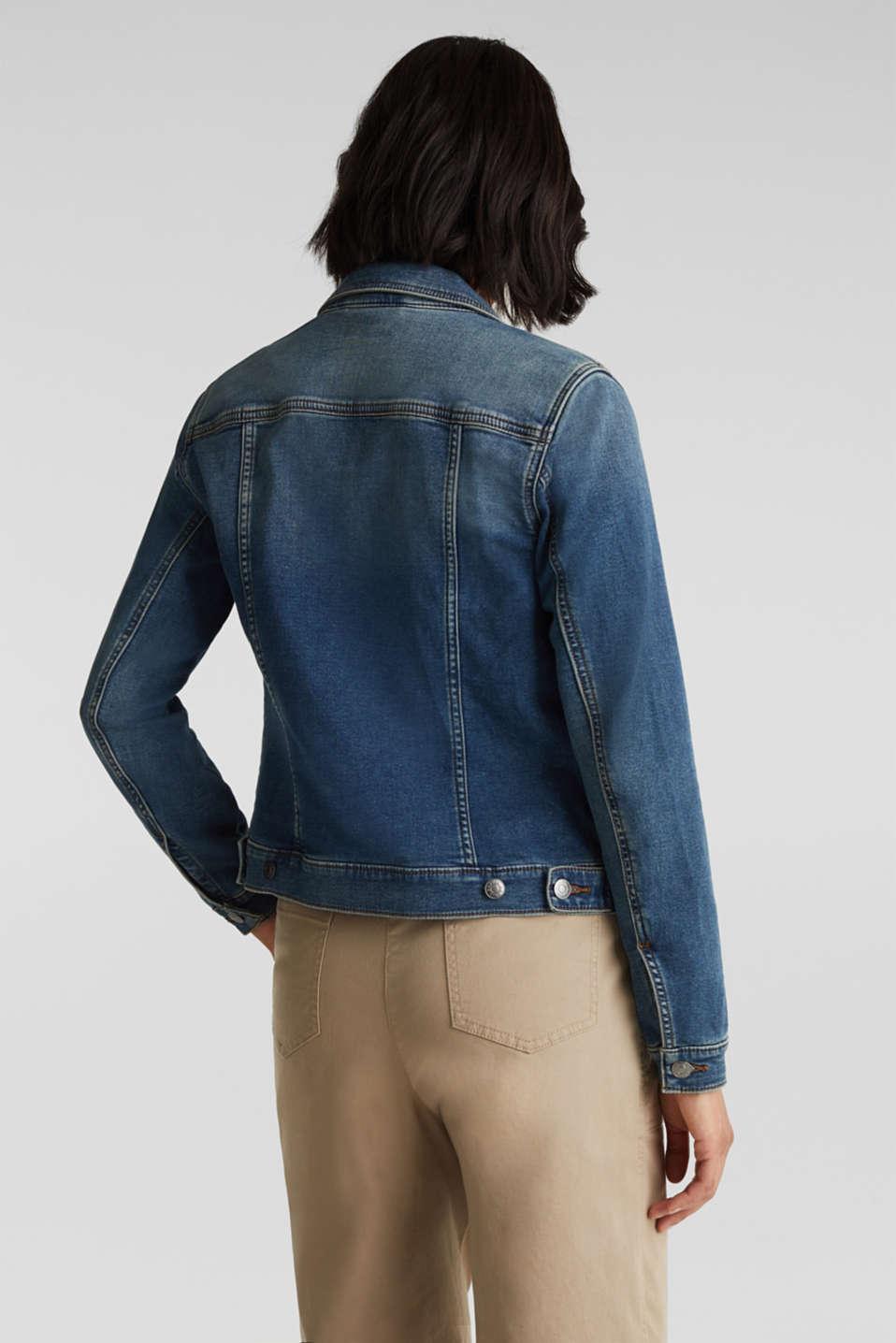 Stretch denim jacket, organic cotton, BLUE MEDIUM WASH, detail image number 3