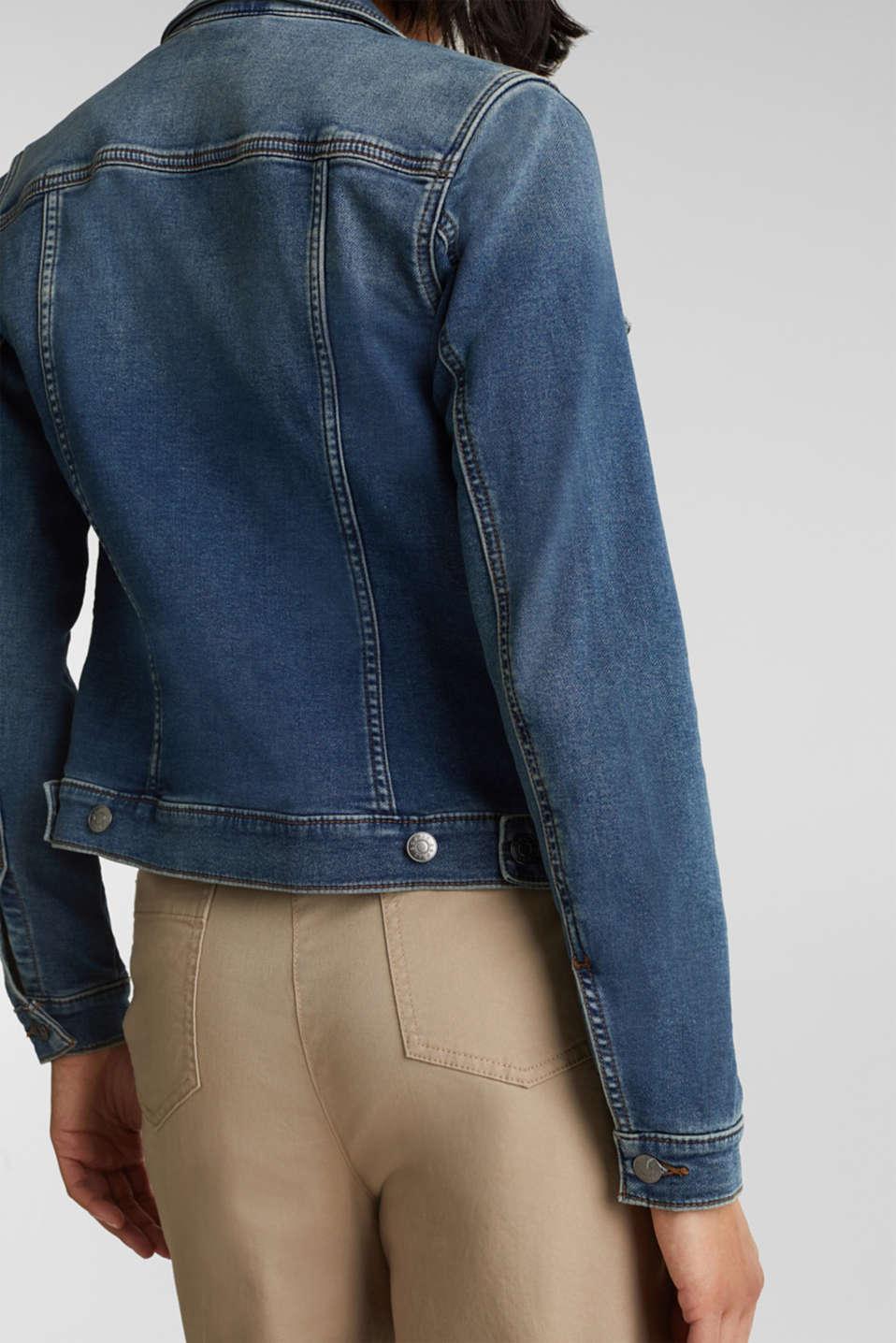 Stretch denim jacket, organic cotton, BLUE MEDIUM WASH, detail image number 5