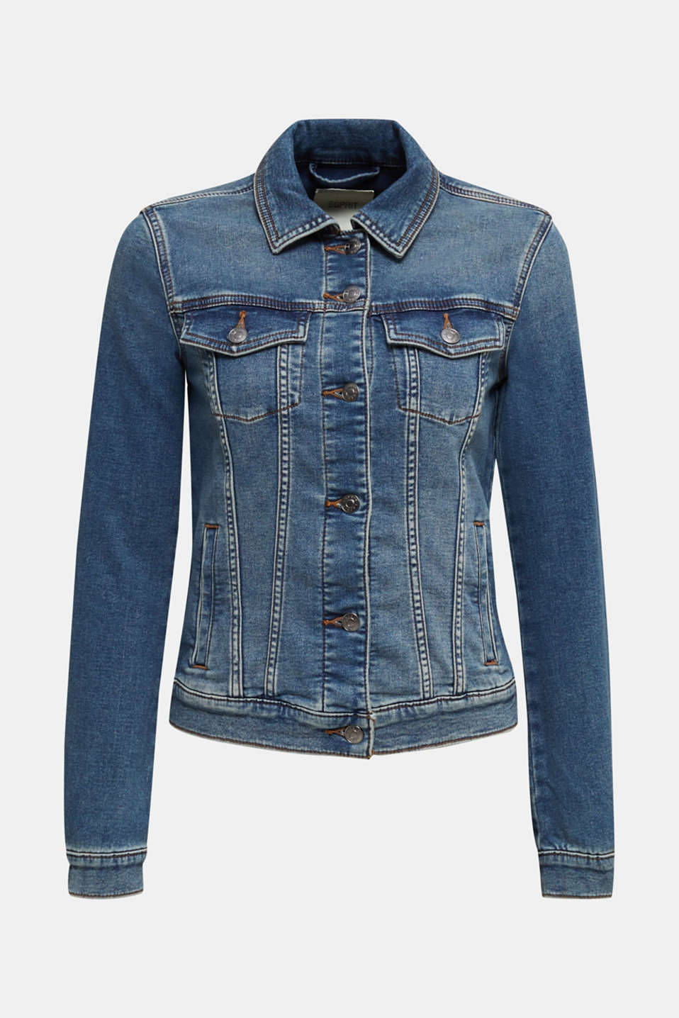 Stretch denim jacket with organic cotton, BLUE MEDIUM WASH, detail image number 7