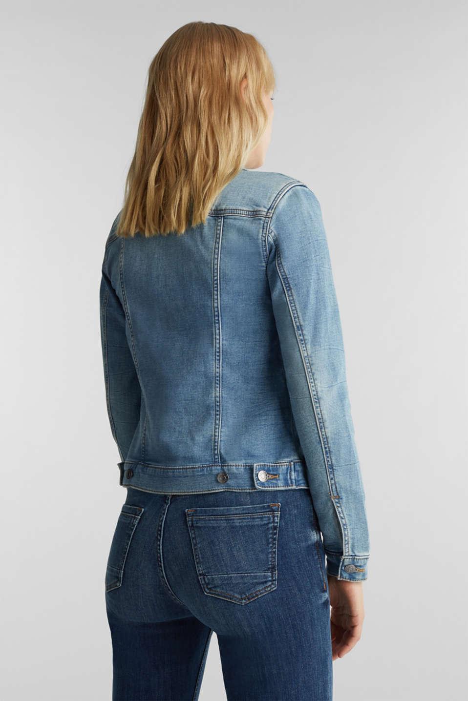 Stretch denim jacket with organic cotton, BLUE LIGHT WASH, detail image number 3