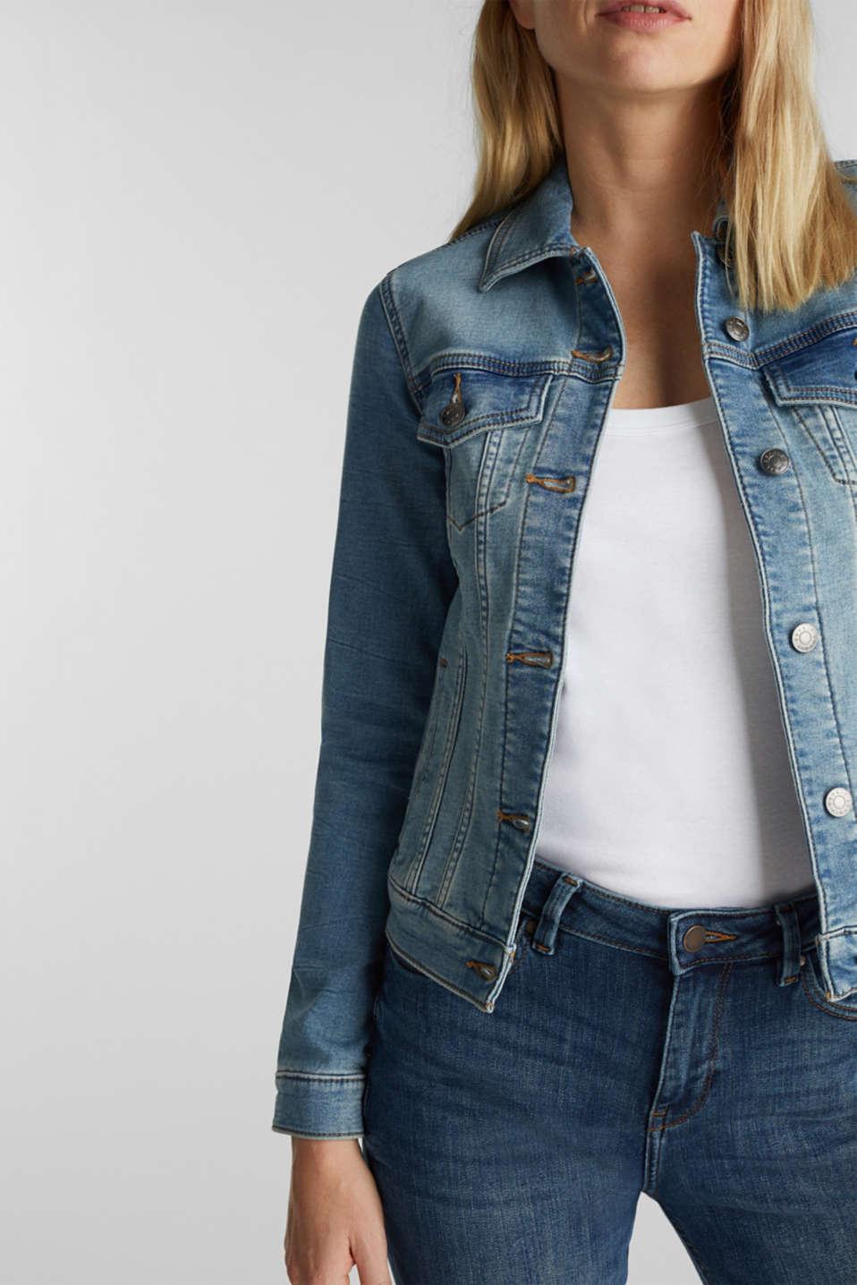 Stretch denim jacket with organic cotton, BLUE LIGHT WASH, detail image number 2