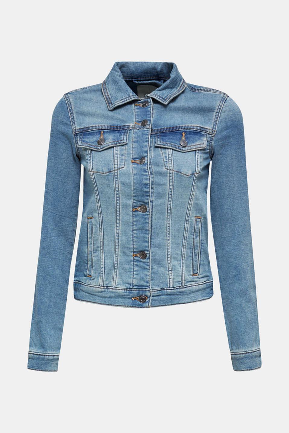 Stretch denim jacket with organic cotton, BLUE LIGHT WASH, detail image number 6