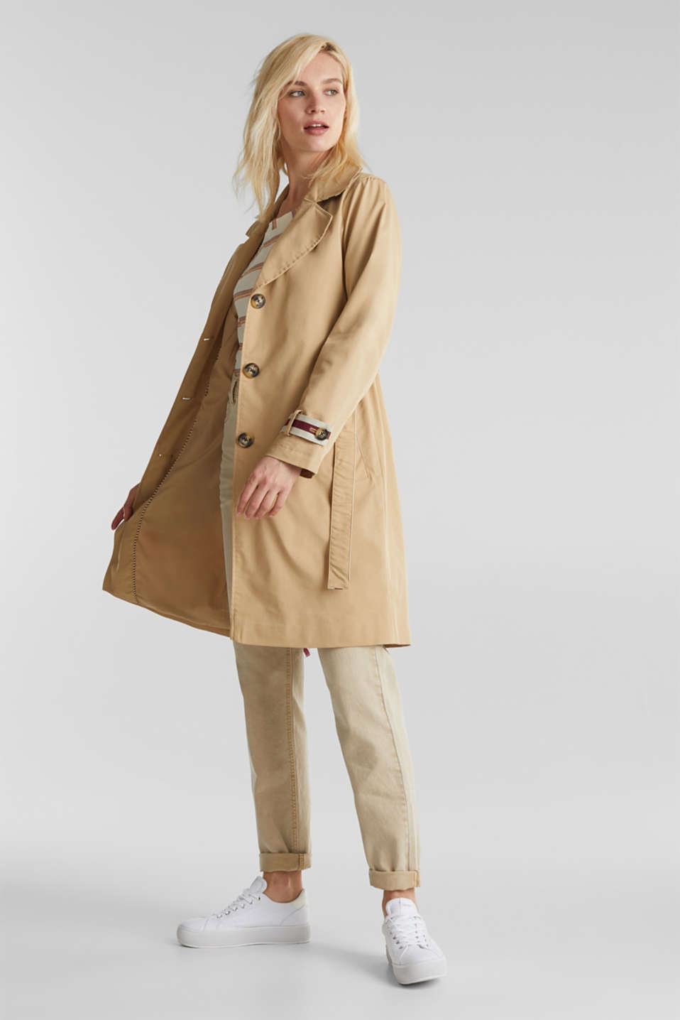 Trench coat with tape details, BEIGE, detail image number 0