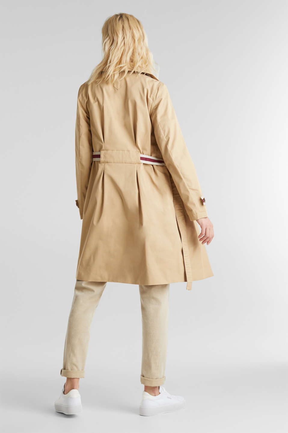 Trench coat with tape details, BEIGE, detail image number 3