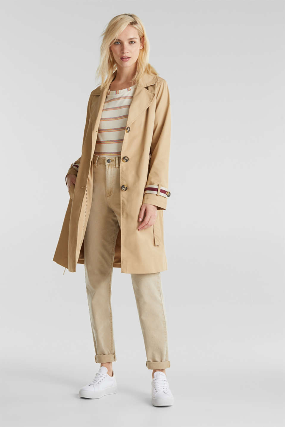 Trench coat with tape details, BEIGE, detail image number 5