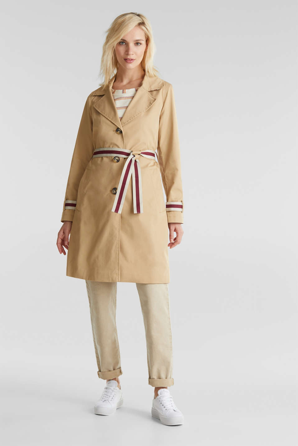 Trench coat with tape details, BEIGE, detail image number 1