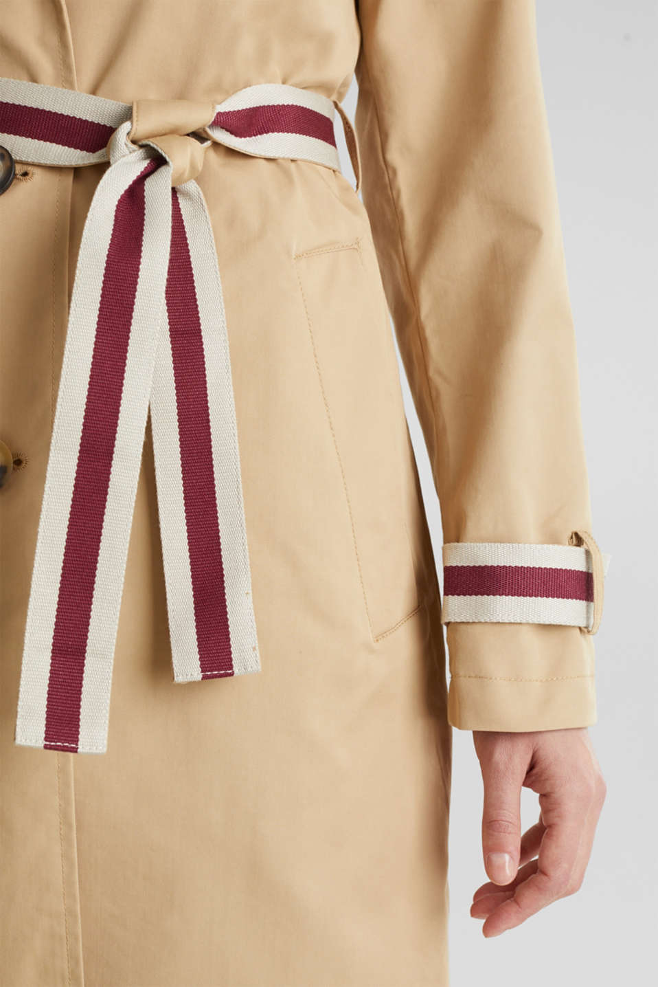 Trench coat with tape details, BEIGE, detail image number 2