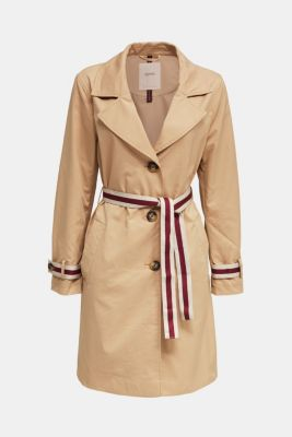 Trench coat with tape details, BEIGE, detail