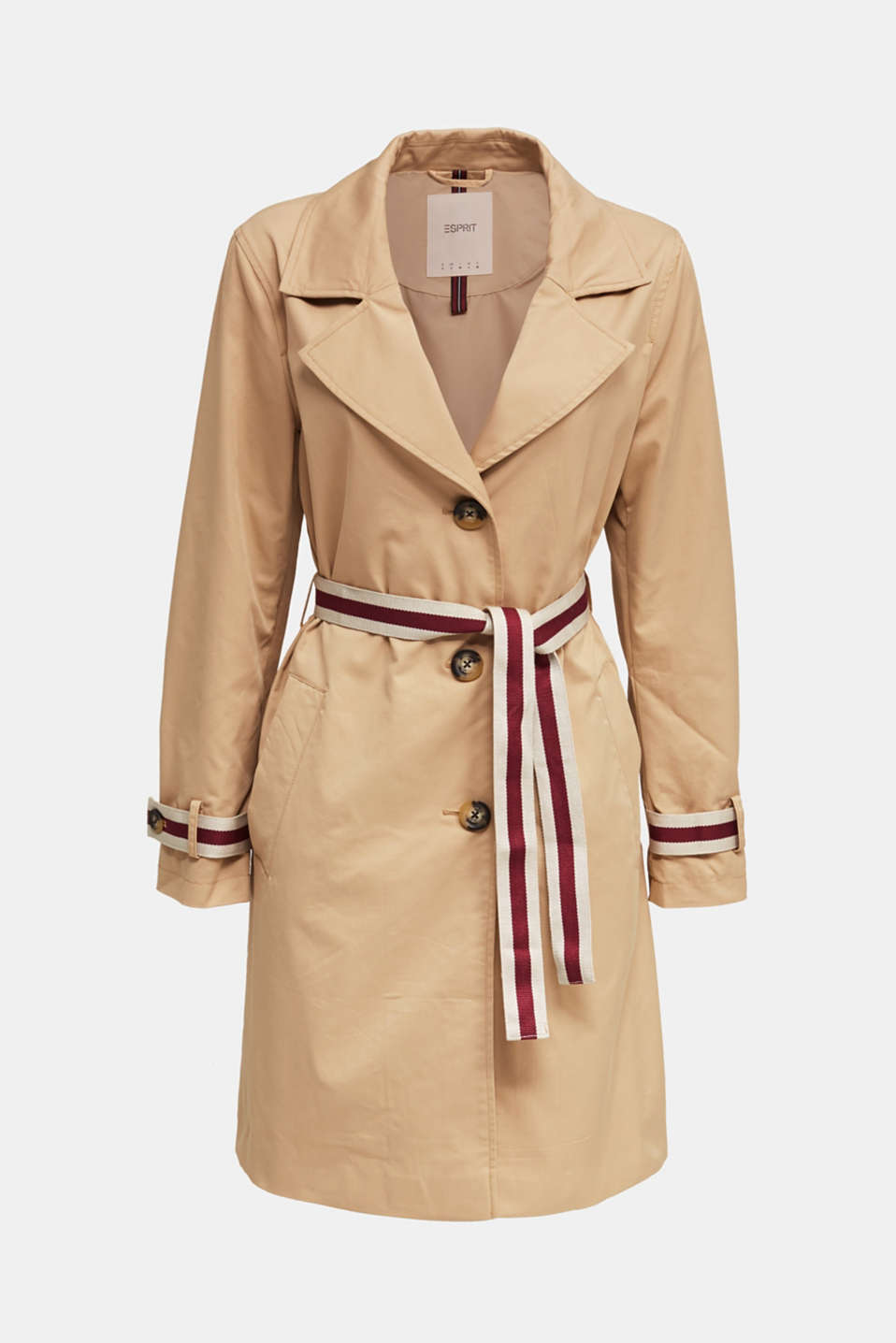 Trench coat with tape details, BEIGE, detail image number 6