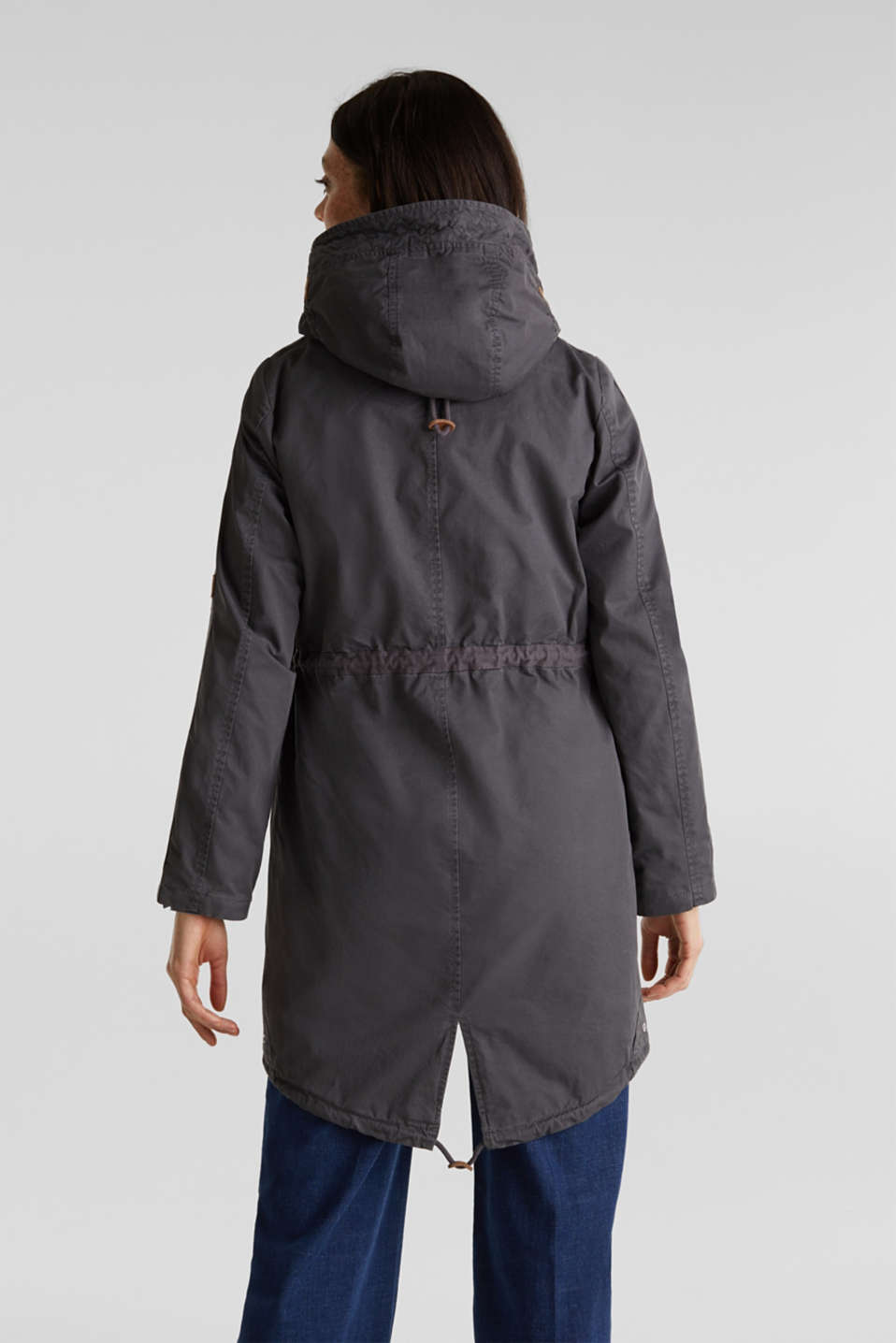 Parka in a garment washed look, GUNMETAL, detail image number 3