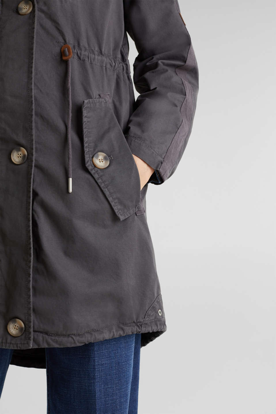 Parka in a garment washed look, GUNMETAL, detail image number 2