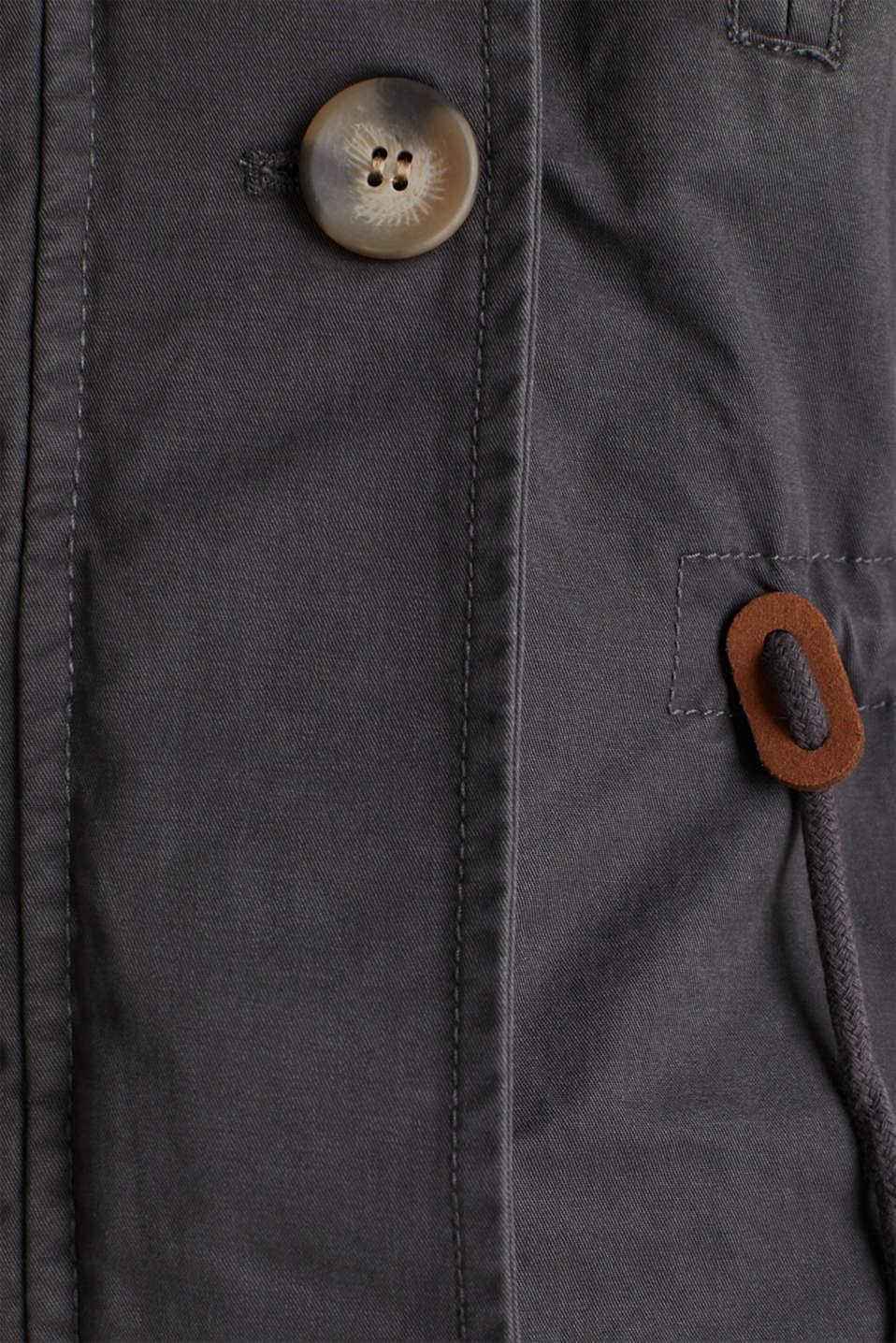 Parka in a garment washed look, GUNMETAL, detail image number 4