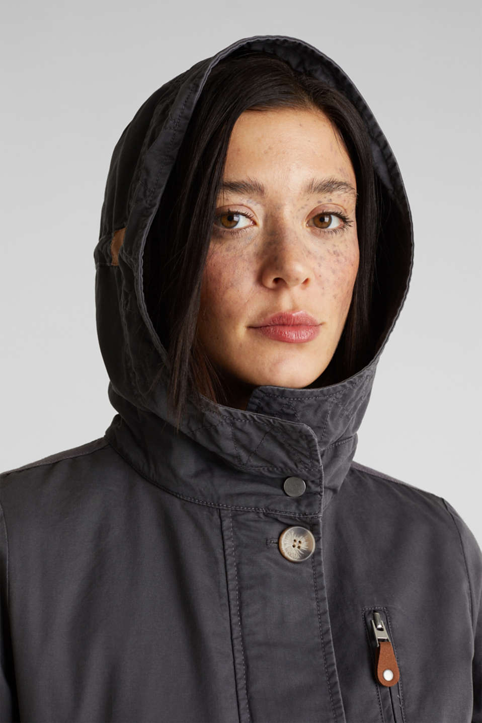 Parka in a garment washed look, GUNMETAL, detail image number 6