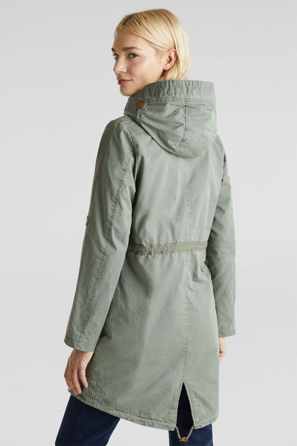 Parka in a garment washed look, KHAKI GREEN, detail image number 3