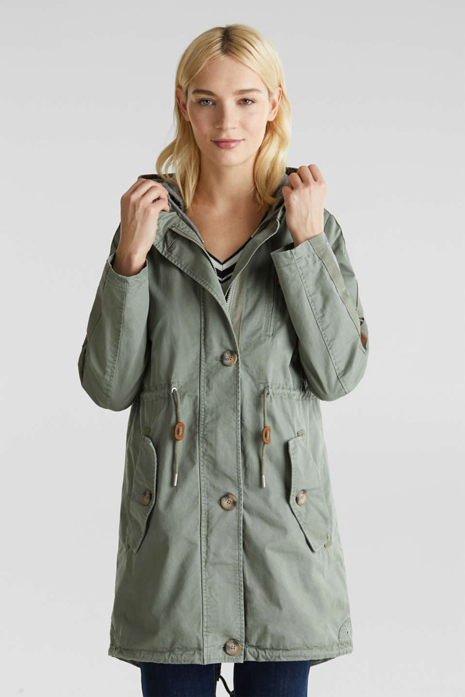 Parka in a garment washed look, KHAKI GREEN, detail image number 6
