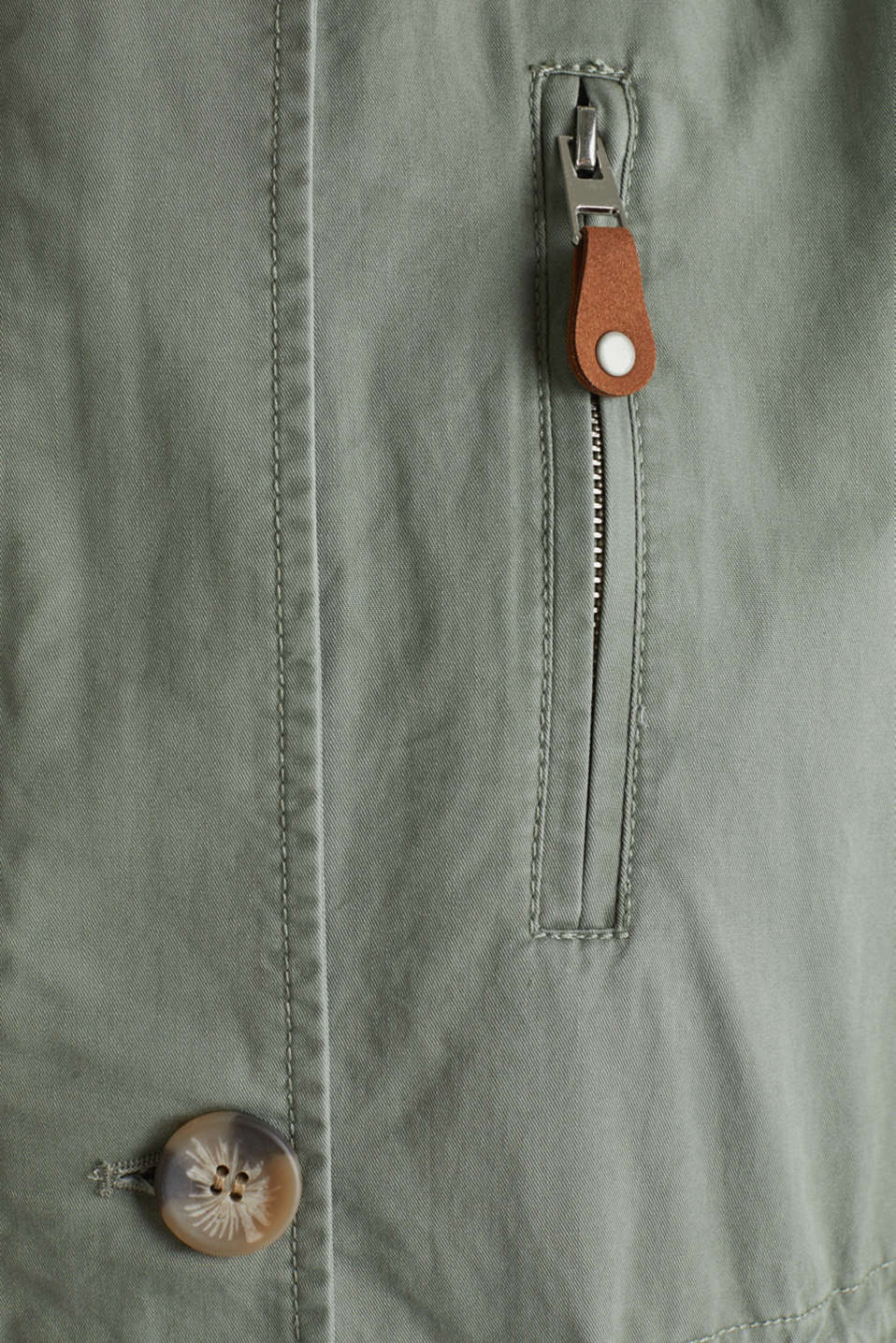 Parka in a garment washed look, KHAKI GREEN, detail image number 4