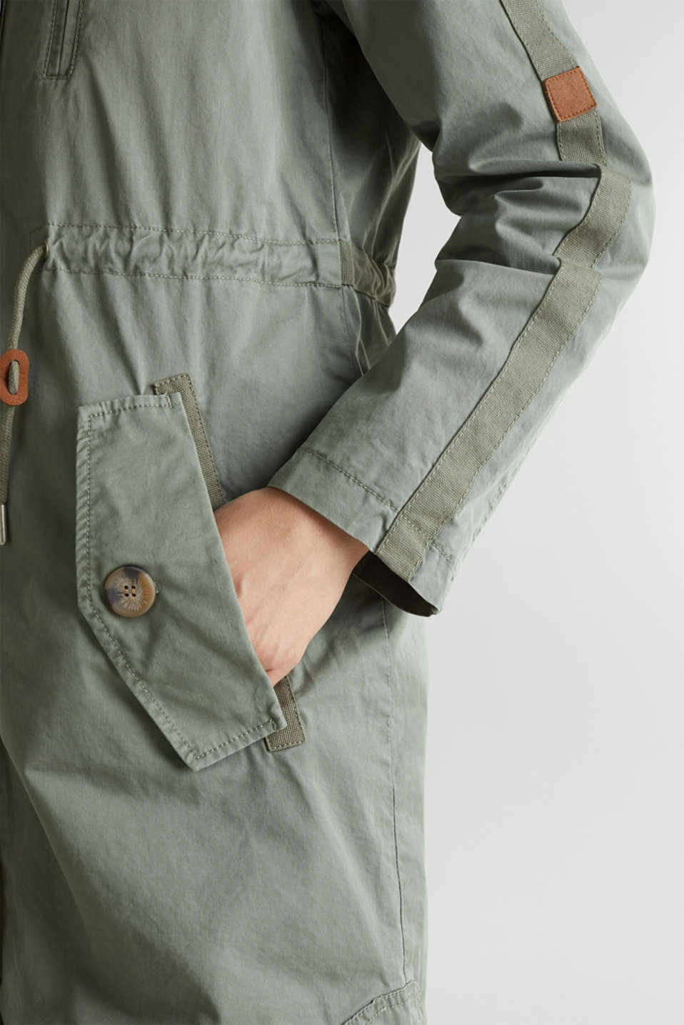 Parka in a garment washed look, KHAKI GREEN, detail image number 5