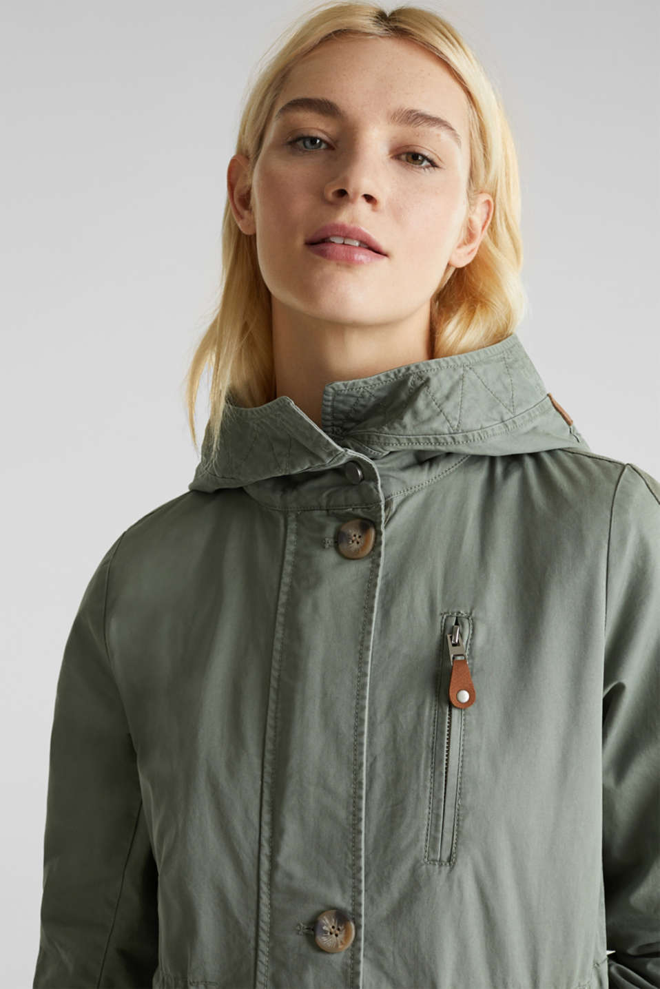 Parka in a garment washed look, KHAKI GREEN, detail image number 7
