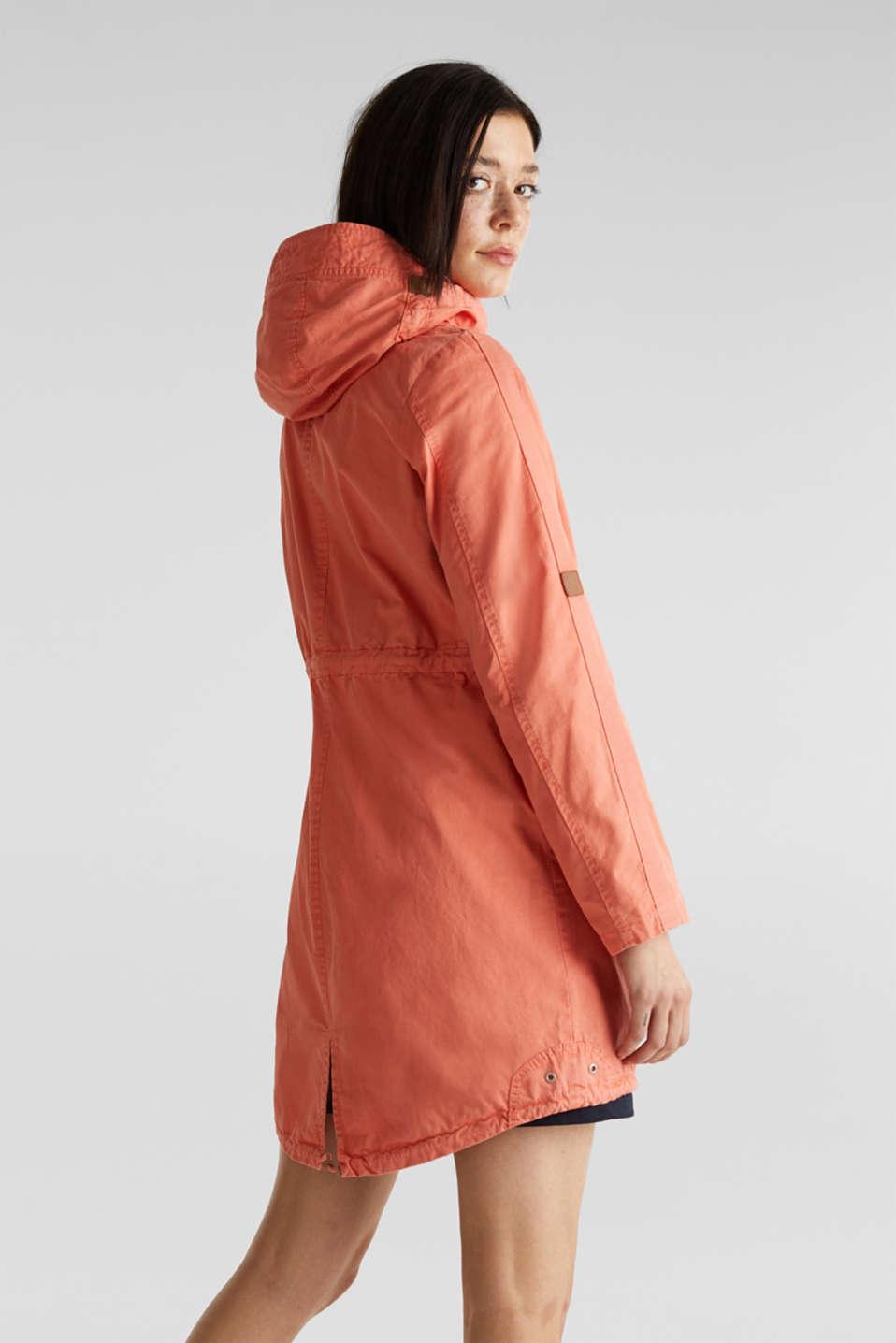 Parka in a garment washed look, ORANGE, detail image number 3