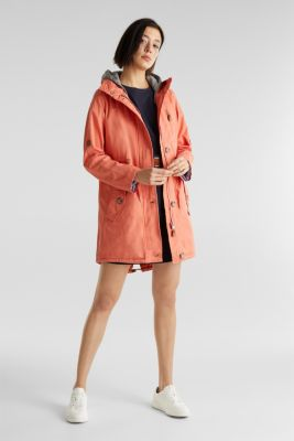 Parka in a garment washed look, ORANGE, detail