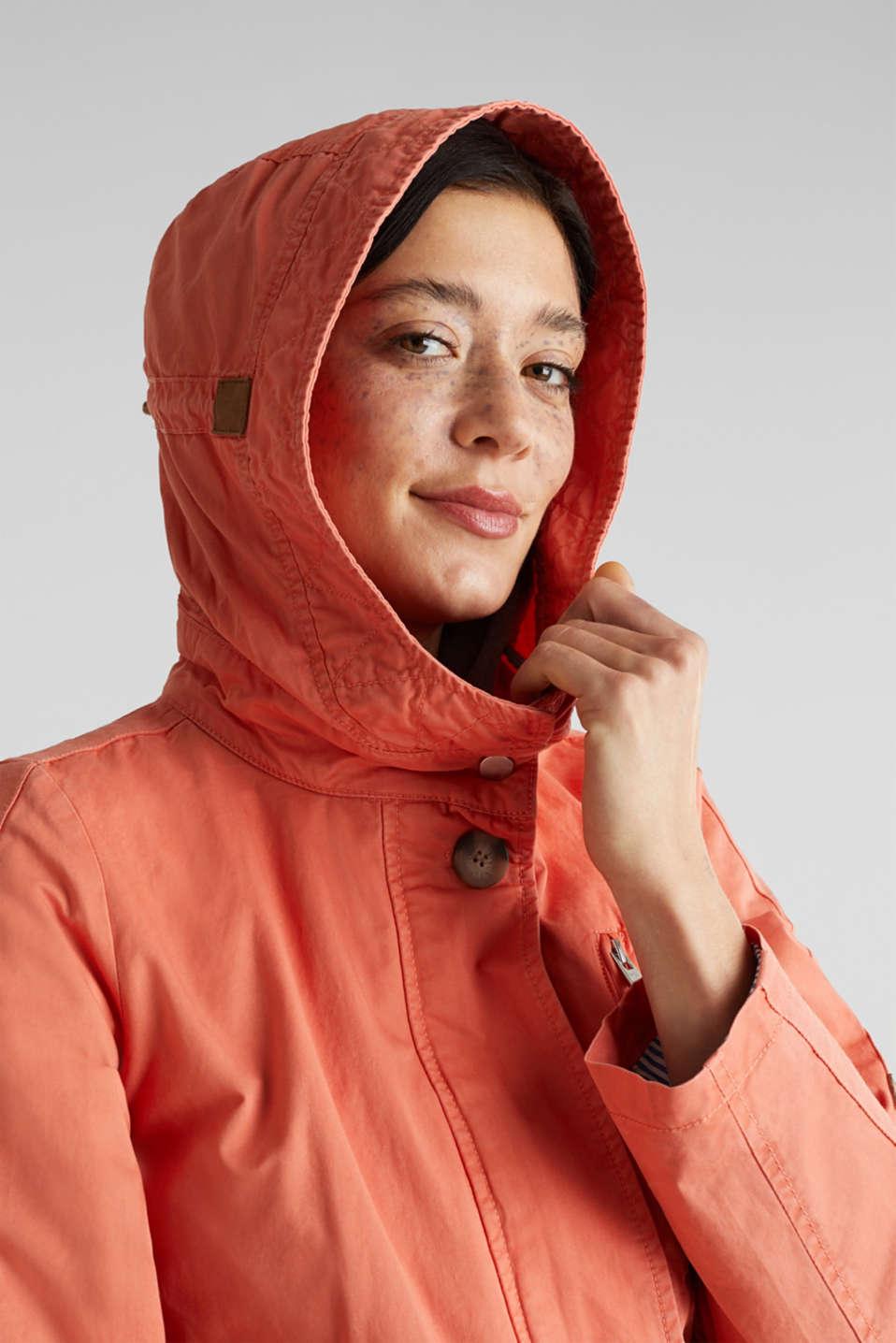 Parka in a garment washed look, ORANGE, detail image number 7