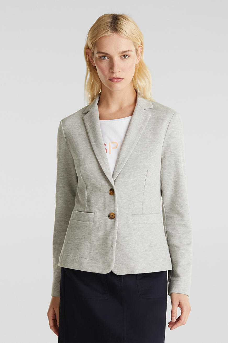 Stretch jersey blazer in piqué fabric