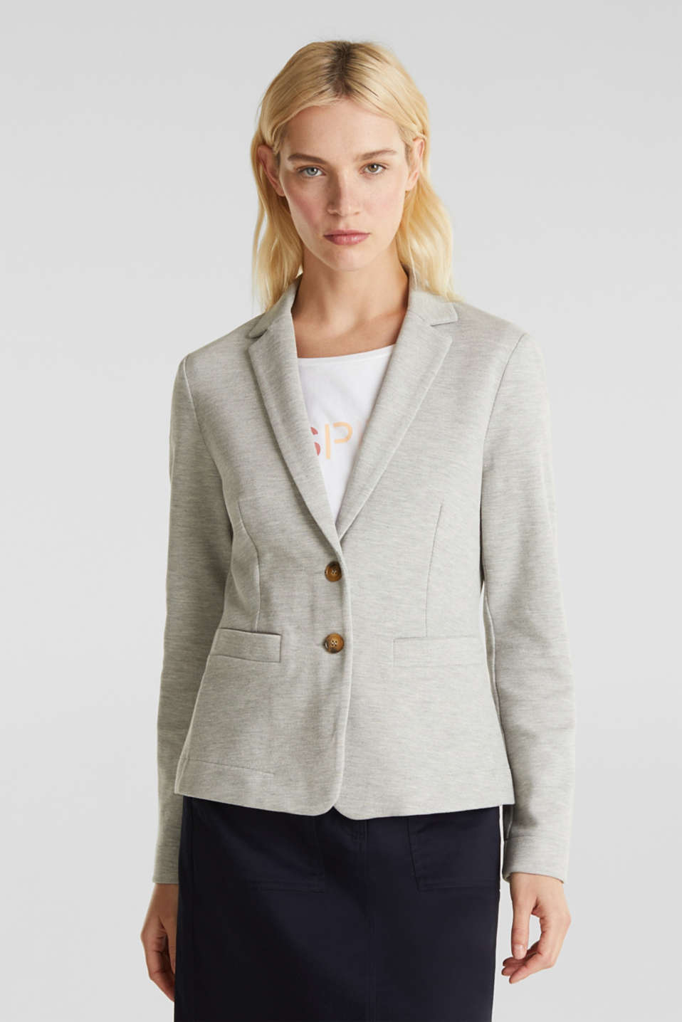 Stretch jersey blazer in piqué fabric, LIGHT GREY 5, detail image number 0
