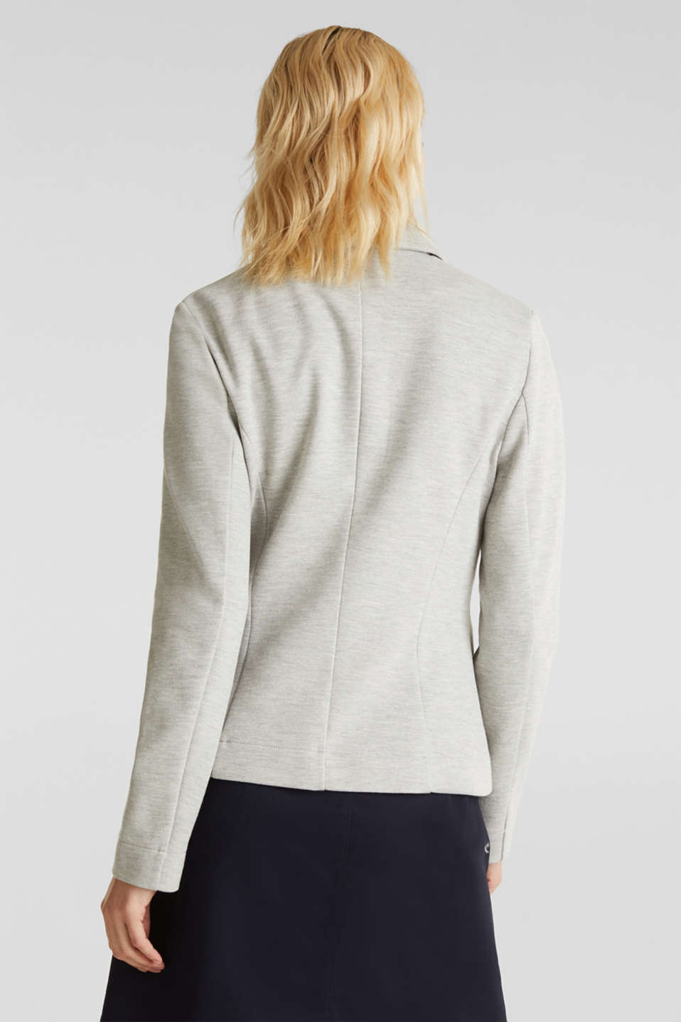 Stretch jersey blazer in piqué fabric, LIGHT GREY 5, detail image number 3
