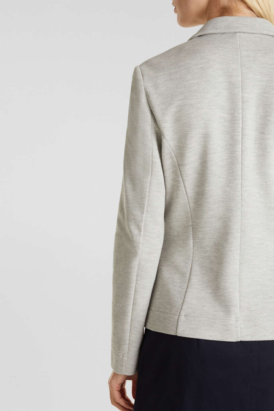 Stretch jersey blazer in piqué fabric, LIGHT GREY 5, detail image number 2