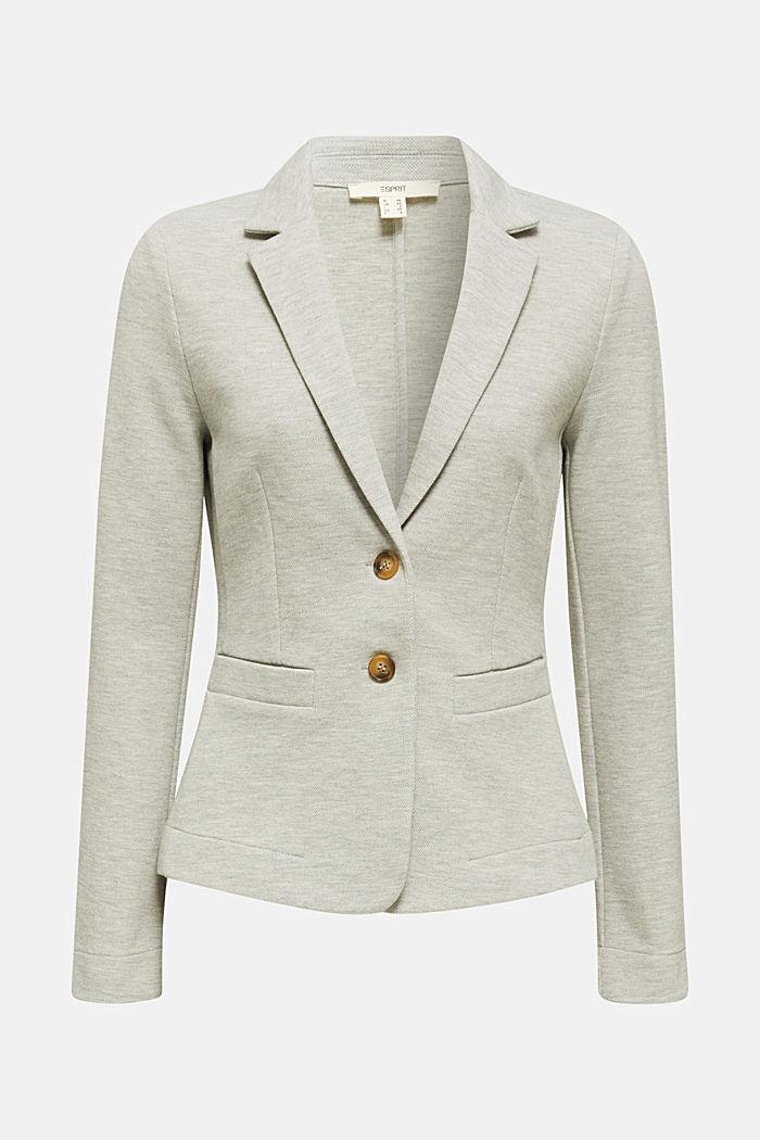 Stretch jersey blazer in piqué fabric