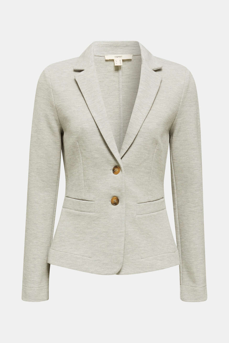 Stretch jersey blazer in piqué fabric, LIGHT GREY 5, detail image number 5
